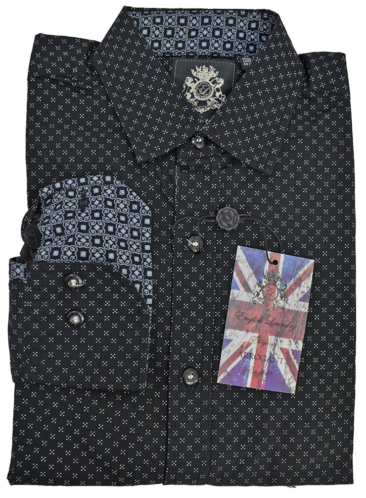 English Laundry Print Sport Shirt-S Black