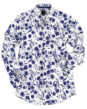 1 like no other Fiore Long Sleeve Navy Floral Shirt