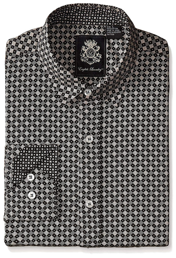 English Laundry Men's Diamond Pattern Sport Shirt