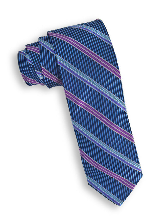 XMI Ribbon Stripe Platinum Tie