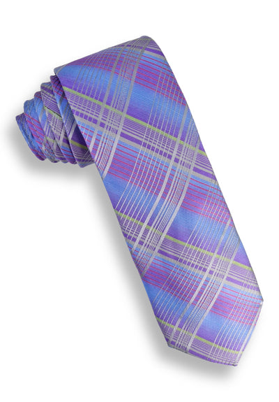 XMI Modern Plaid Platinum Tie