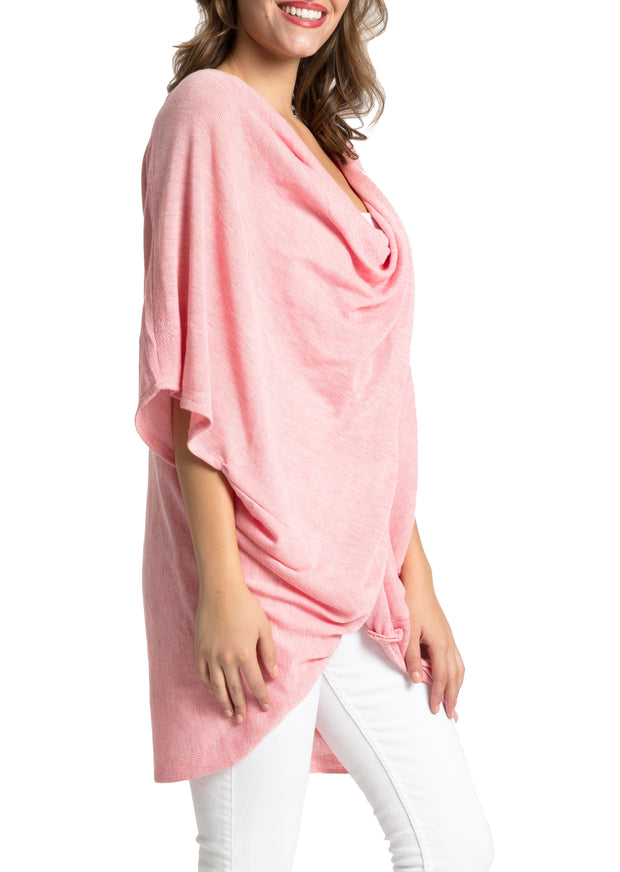 Save the Ocean Recycled Blush Knit Twist Poncho