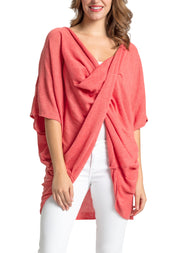 Save the Ocean Recycled Coral Knit Twist Poncho