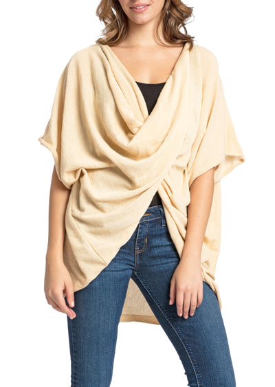 Save the Ocean Recycled Ivory Knit Twist Poncho