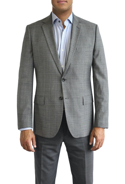 Grey textured two button jacket by Daniel Hechter