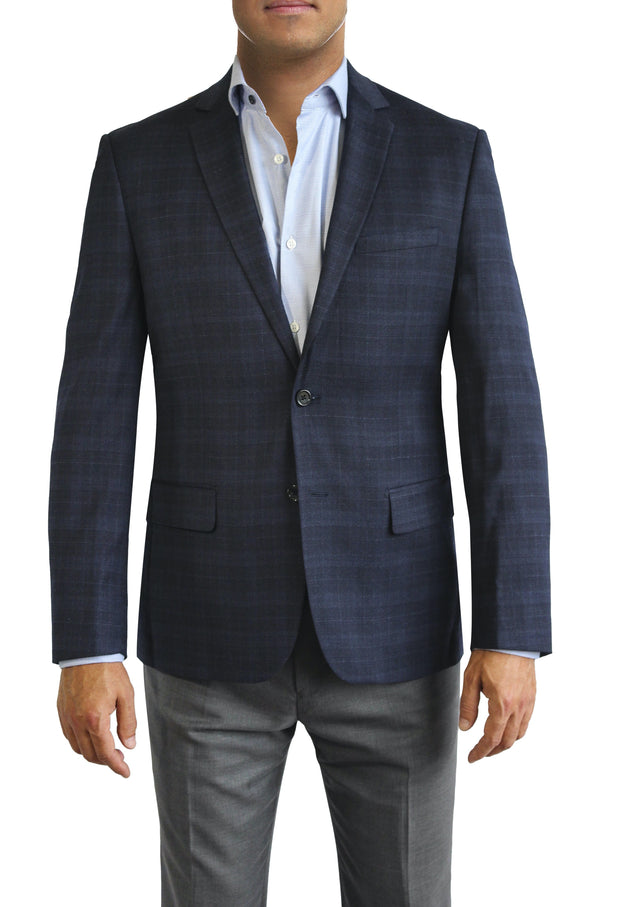 Blue Tonal Plaid two button jacket by Daniel Hechter