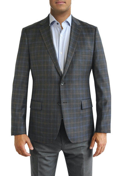 Brown Windowpane Plaid two button jacket by Daniel Hechter