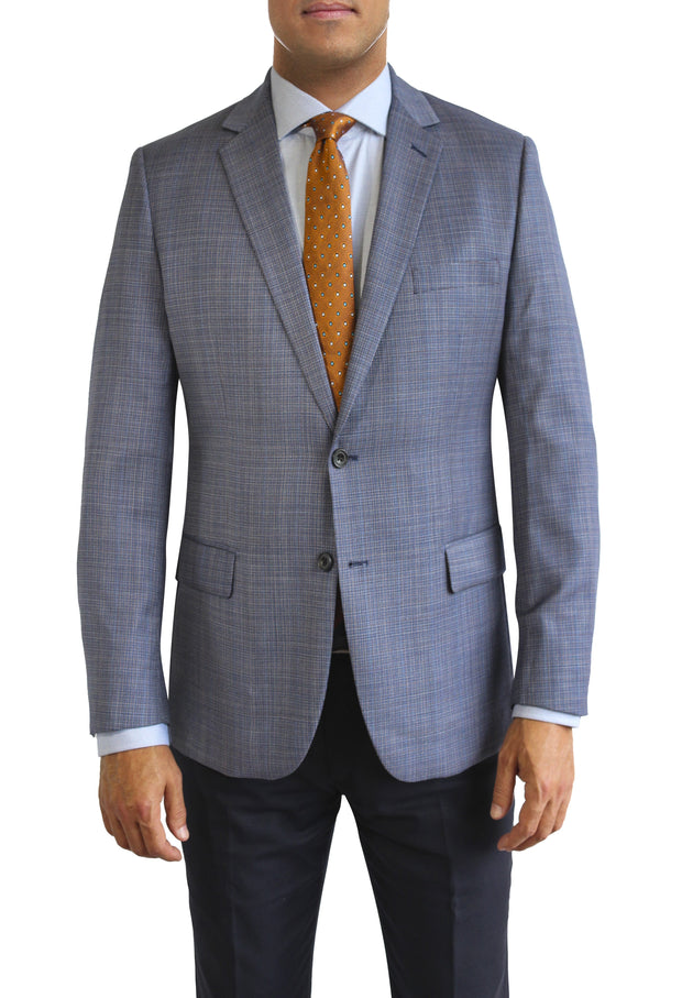 Blue Textured two button jacket by Daniel Hechter