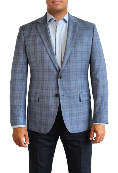 Blue Plaid Windowpane two button jacket by Daniel Hechter