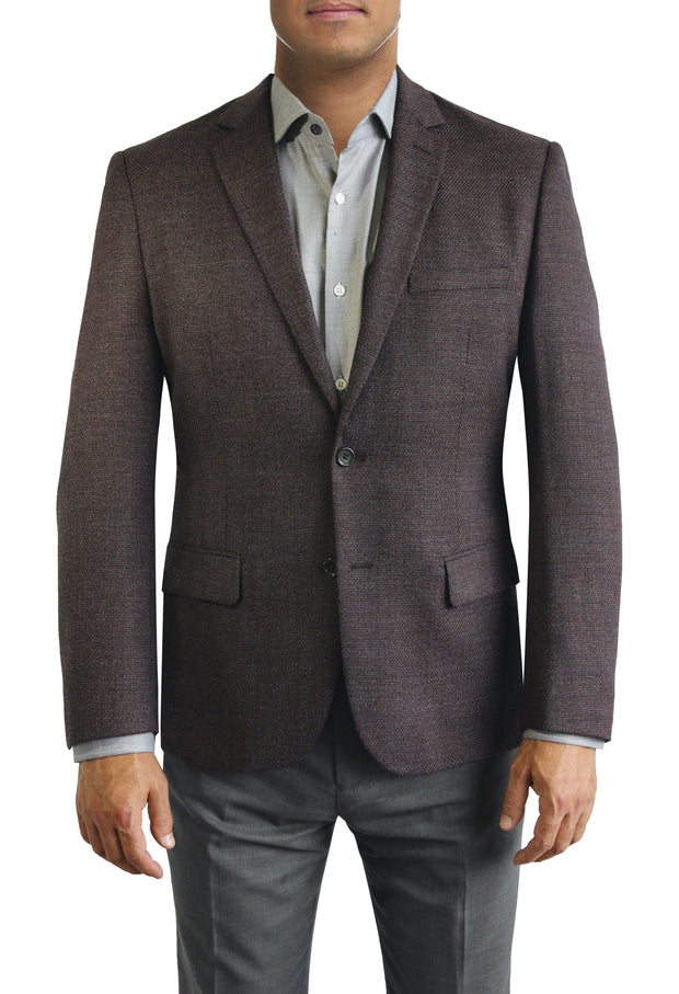 Maroon Textured two button jacket by Daniel Hechter