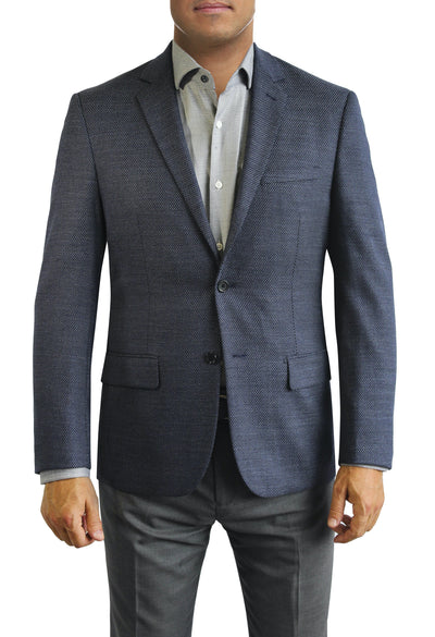 Blue Nailhead Textured two button jacket by Daniel Hechter