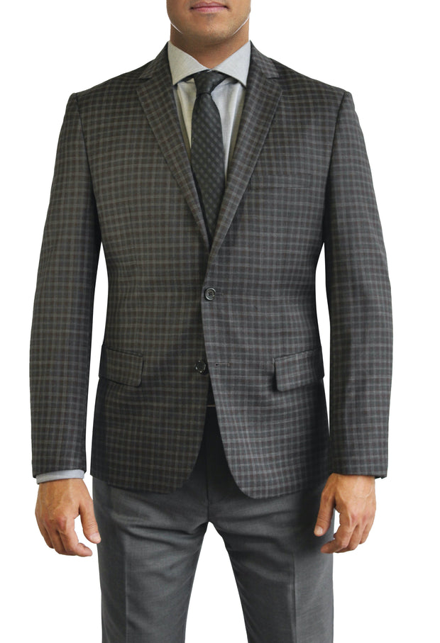 Brown Check Plaid two button jacket by Daniel Hechter