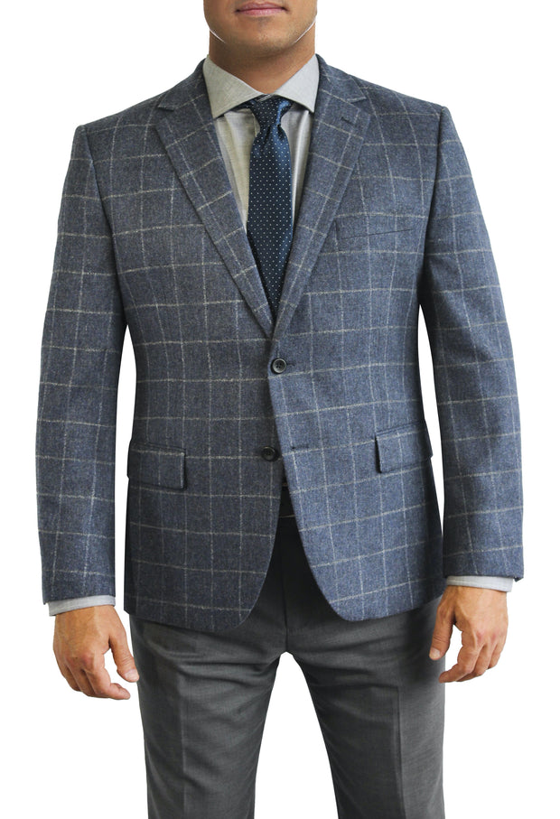 Blue Windowpane two button jacket by Daniel Hechter