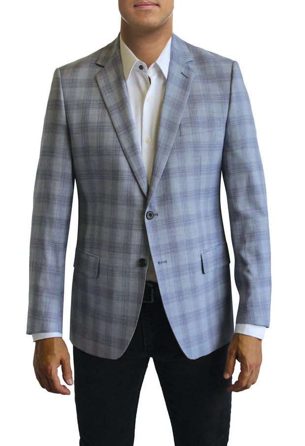 Light Blue Plaid two button jacket by Daniel Hechter