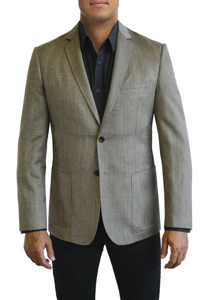 Grey Melange Textured two button jacket by Daniel Hechter