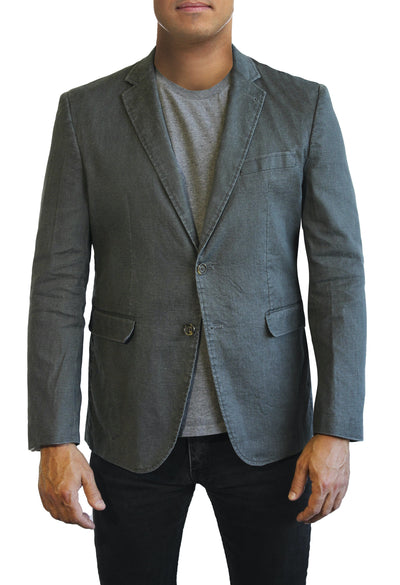 Grey Cotton two button jacket by Daniel Hechter