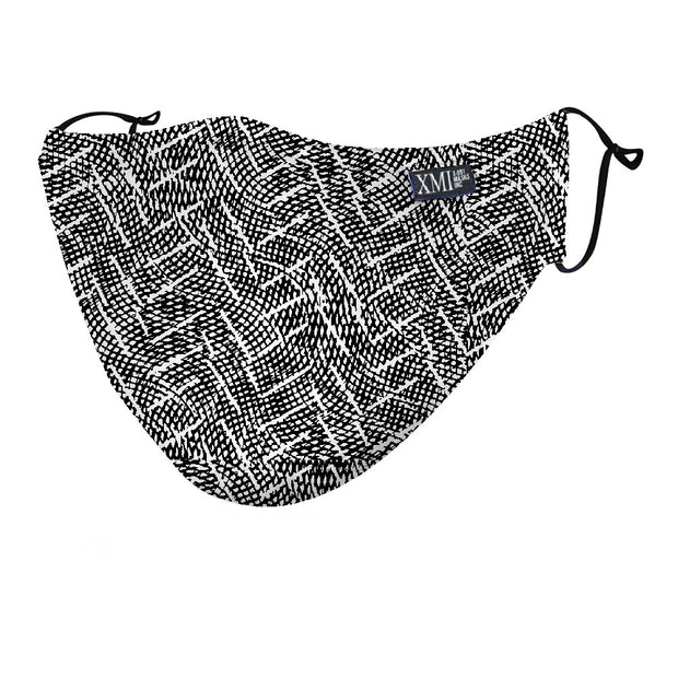 Basket Weave Black and White printed mask