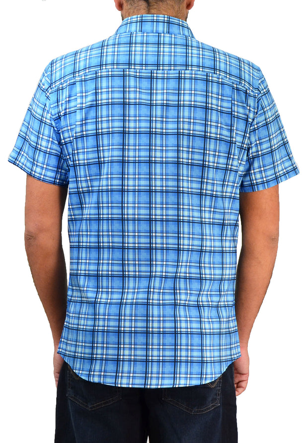 Save the Ocean Large Plaid Short Sleeve Casual Shirt