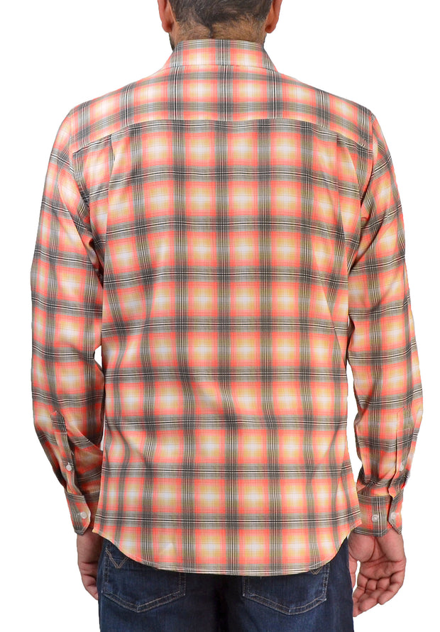 Save the Ocean Recycled orange plaid long sleeve shirt