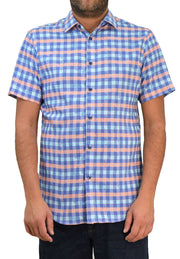 Save the Ocean Windowpane Plaid Short Sleeve Casual Shirt