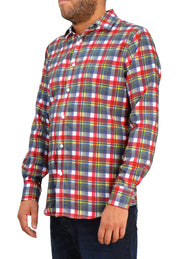 Save the Ocean Recycled blue/red plaid long sleeve shirt