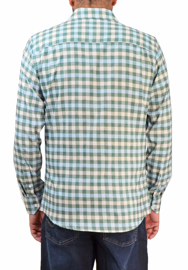 Save the Ocean Recycled green check long sleeve shirt