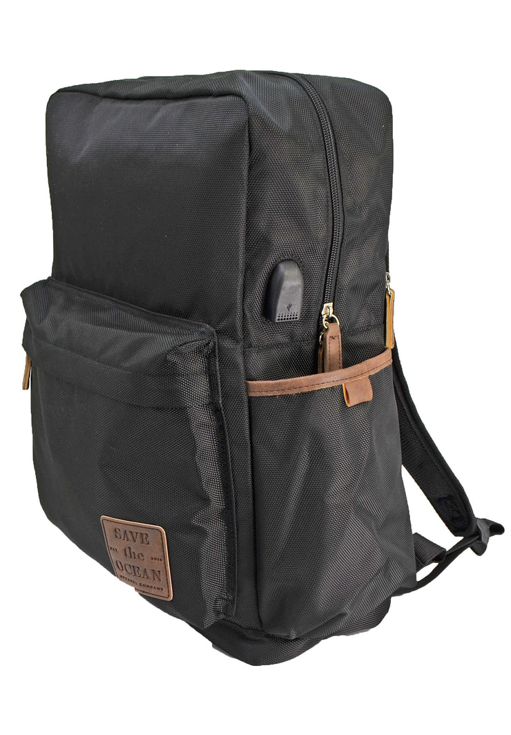 Save the Ocean Recycled Black Traditional Backpack