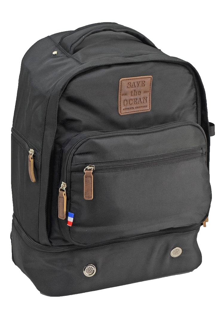 Save the Ocean Recycled Black Backpack
