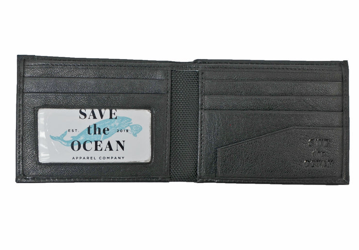 Save the Ocean Recycled Black Slim Fold Wallet