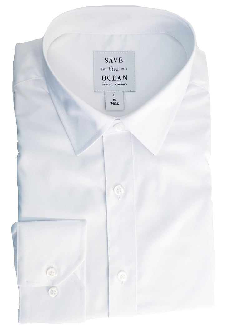 Save the Ocean Recycled White solid long sleeve dress shirt