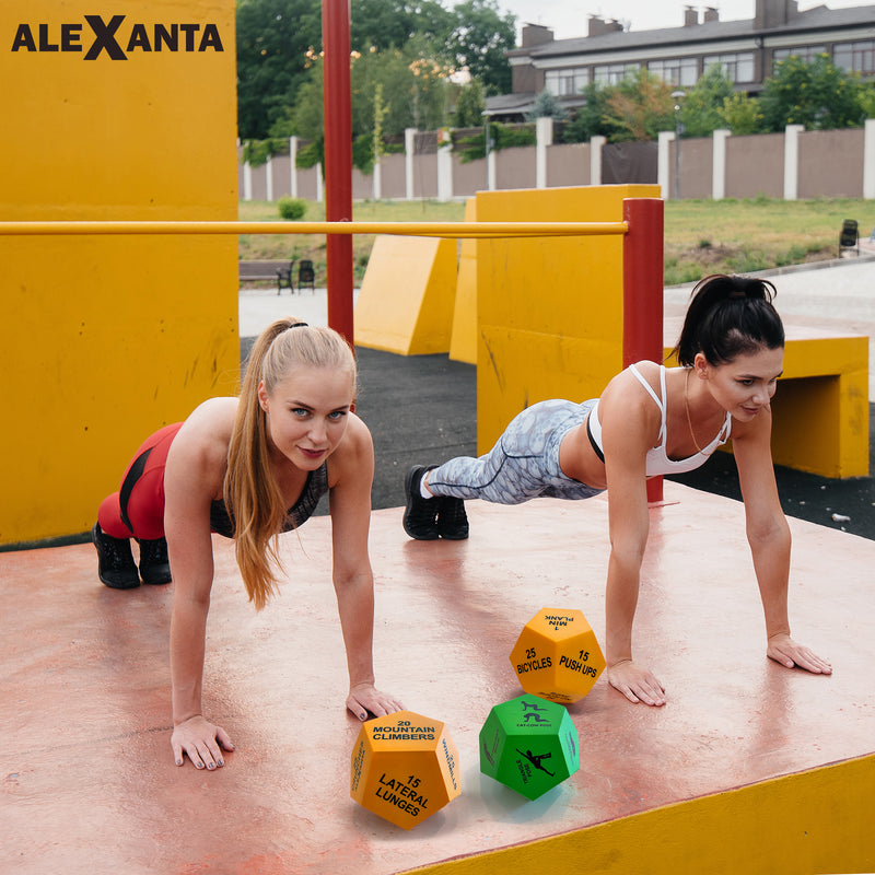Alexanta Exercise Dice - 3X 12-Sided Workout Dice incl. Mesh Bag, Illustrations
