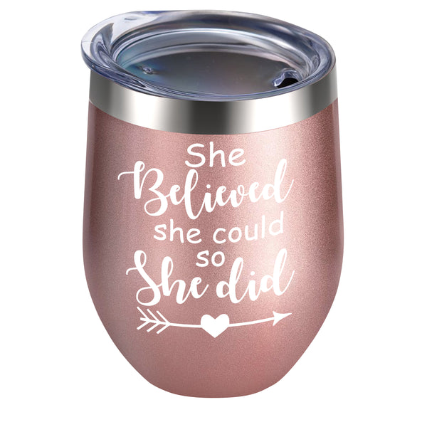Alexanta She Believed She Could So She Did Wine Tumbler - Congratulations Gifts for Women