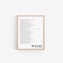 Load image into Gallery viewer, Dean Lewis, Waves, Song Lyric Print