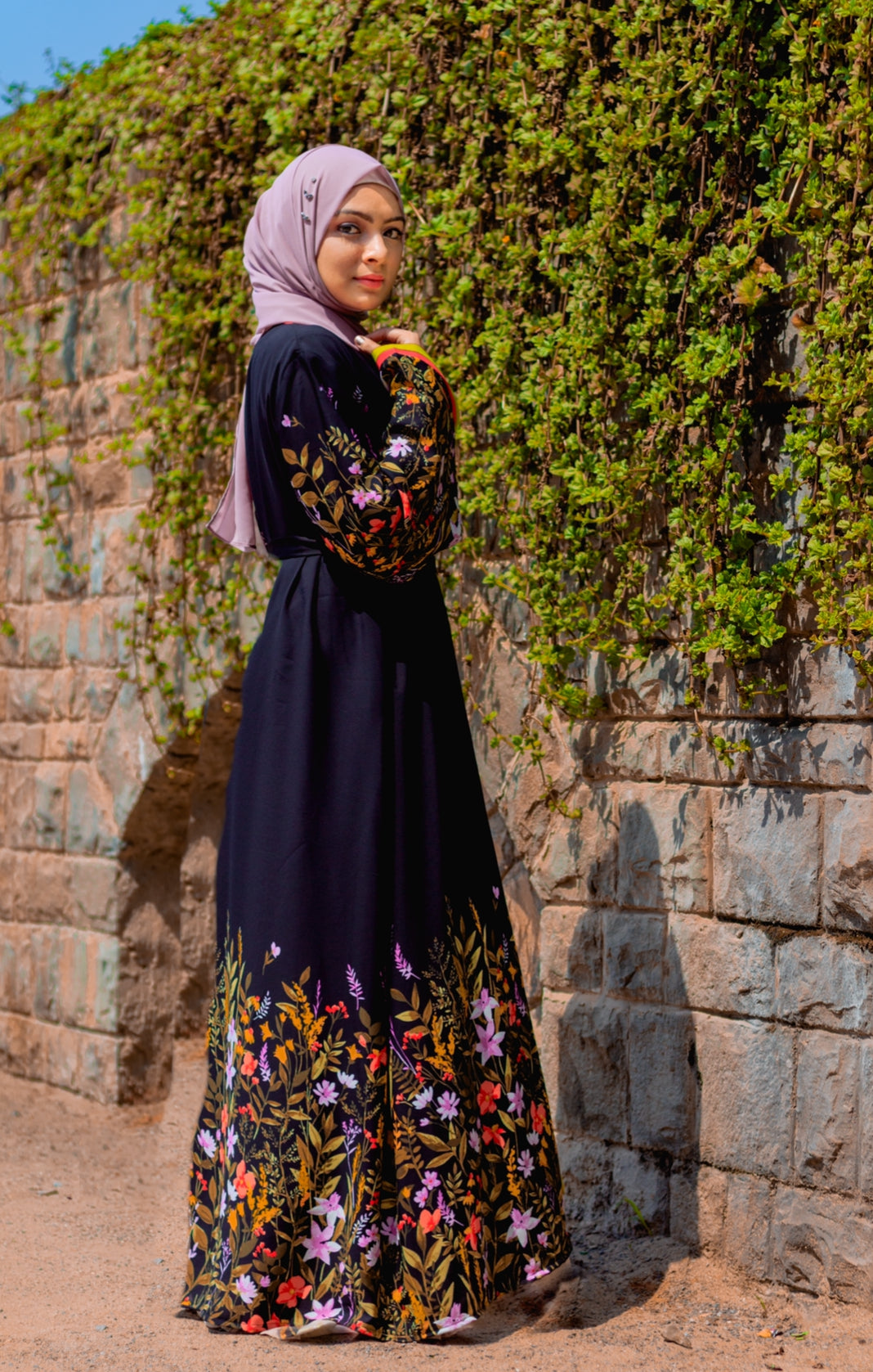 Open Front Printed Abaya