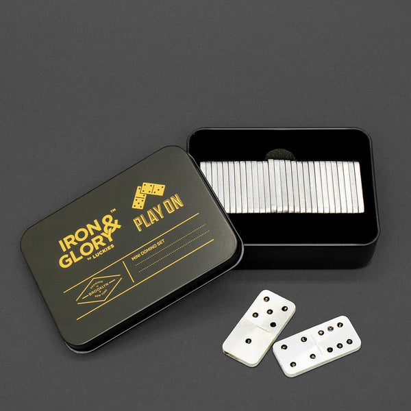 IRON & GLORY Game Play On Dominoes Mini Travel Set