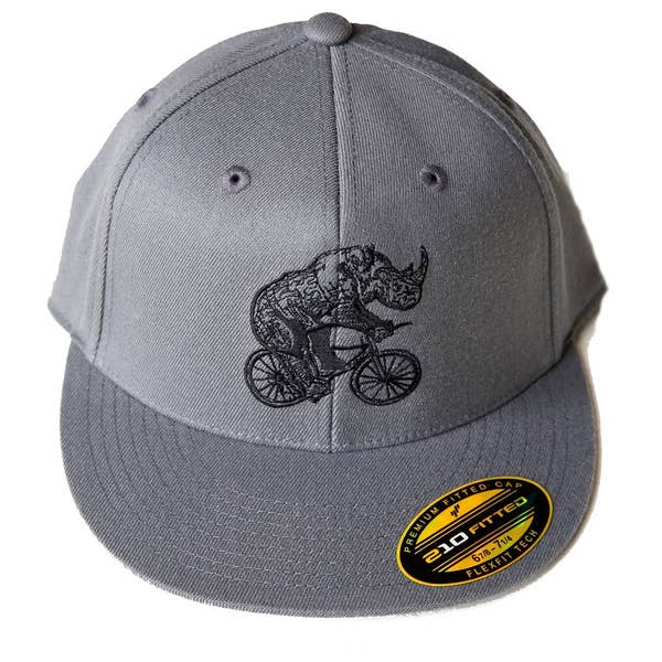 Dark Cycle Rhine on Bicycle Fitted Hat S/M & L/XL