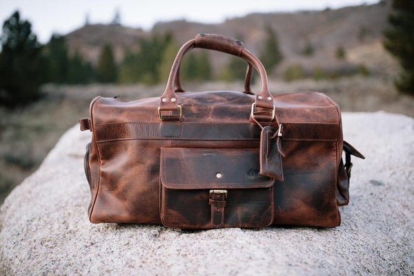 KODIAK LEATHER 60L Weekender Duffel Bag [DARK WALNUT]