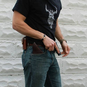 American Bench Craft Concealed Carry Riveted Leather Pocket Holster - Pick Your Color