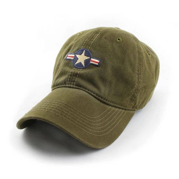 S.L. Revival Co. Olive US Air Force Insignia Leather Strap Adjustable Hat