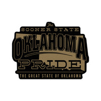 Oklahoma State Pride Sticker [Gold on Black] Small or Large