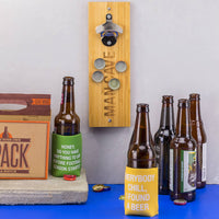 Wall Mount Bottle Opener [Two Beer or Not Two Beer] with Magnetic Catch