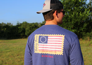 Burlebo Betsy Ross Flag Long Sleeve Tee Size S-2X