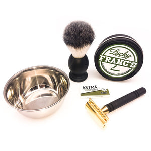 Lucky Franc's Complete Wet Shave Kit - Black & Gold Razor Set