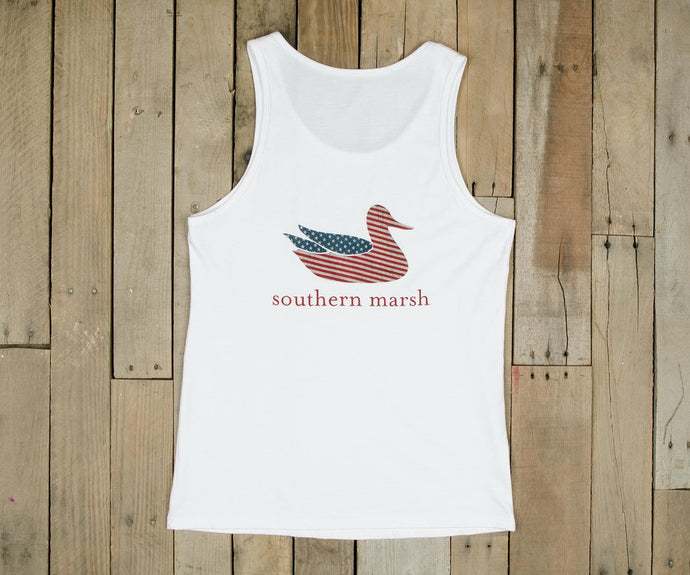 50% off Southern Marsh Authentic Flag White Tank Top S, M, L