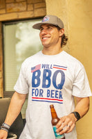 Burlebo USA BBQ for Beer Tee Size S, M, L, XL, 2X