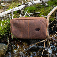 KODIAK LEATHER Large Buffalo Dopp Bag [MID BROWN SUADE]