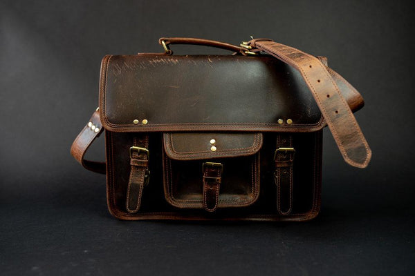 KODIAK LEATHER Buffalo Leather Satchel [DARK WALNUT]