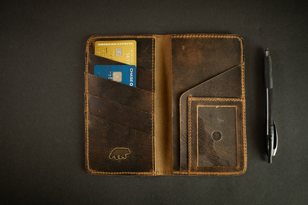 KODIAK LEATHER Top Grain Checkbook Wallet [ANTIQUE BROWN]