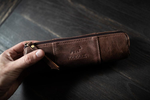 KODIAK LEATHER Pencil Case [DARK WALNUT]