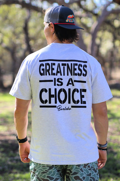 Burlebo Greatness is a Choice Grey Tee Size S, M, L, XL, 2X